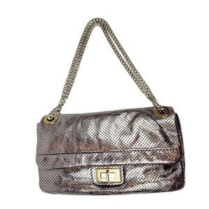 NEW Chanel Silver Metallic Perforated 2.55 Bag